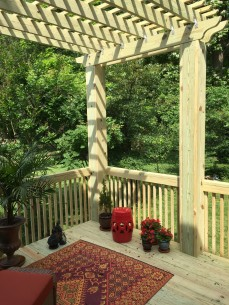Custom deck with pergola in Cranford